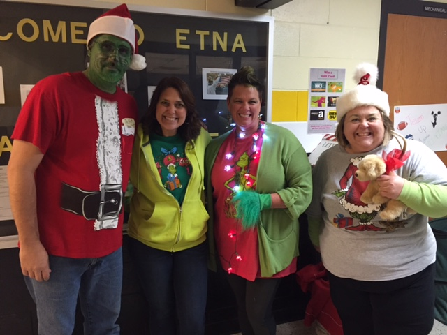 Staff enjoying their time during the holiday season at Etna!